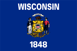 3' x 5' Wisconsin Flag for outdoor use, nylon